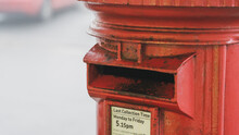 Old Red Post Box On A Foggy Morning