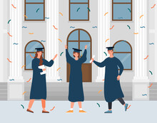 Male And Female Characters Celebrating Graduation Ceremony. Hapy Graduated Students Are Standing With Hands Up In Front Of The University. Flat Cartoon Vector Illustration