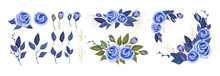 Vector Floral Greenery Collection. Set With Blue Roses, Leaves And Bouquet Composition