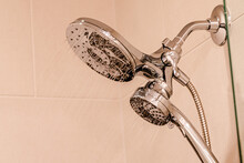 Low Angle View Of Shower Head In Bathroom