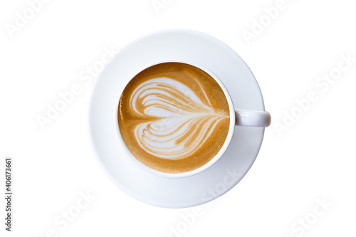 Black Coffee In A Coffee Cup Top View Isolated On White Background Fototapete