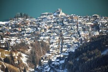 Zell Am See And Lake From Above In Winter Sunny Austria Alps