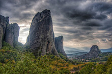 Panoramic View Of Rock Formations Against Sky In Meteora
