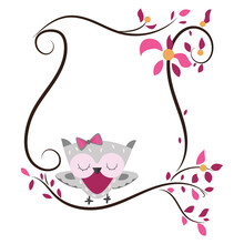 Cute Owl Clipart And Frame. Pink Frame. Cartoon Invitation Card. Owl On The Tree.