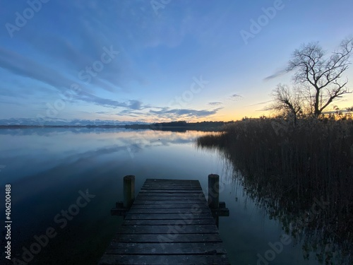 Fototapety, obrazy: Pier Over Lake Against Sky During Sunset