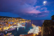 Awe Landscape With Entrance To Harbor Of Nice ( Rade De Villefranche)  - Blue Twilights