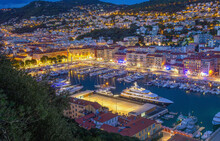 Idyllic View Oа Entrance To  Harbor - Rade De Villefranche  In Nice -  Night Scene With Illumination