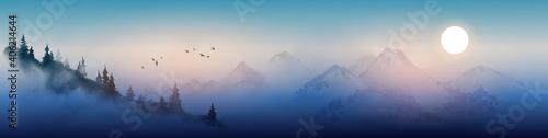 Fotografie, Obraz Night landscape with misty mountains