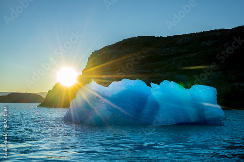 Valokuva Scenic View Of Iceberg Against Clear Sky During Sunset