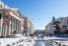 Palacio De Congresos De Madrid Covered By Snow And Cold From Storm Filomena. Great Snowfall In Madrid. Snow Storm.