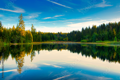 Scenic View Of Lake By Trees Against Sky Fotobehang