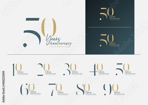 Leinwand Poster Set of anniversary logotype with minimalism gold, silver and blue color style for celebration event