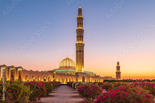 Fototapeta Sunset view of the Sultan Qaboos Grand Mosque in Bawshar, Muscat.