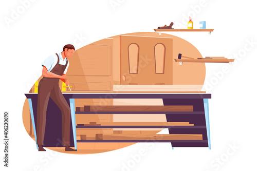 Canvas Print Carpenter Flat Illustration