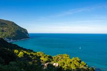 Riviera Del Conero, Marche, Italy. A Sailboat On The Adriatic Sea