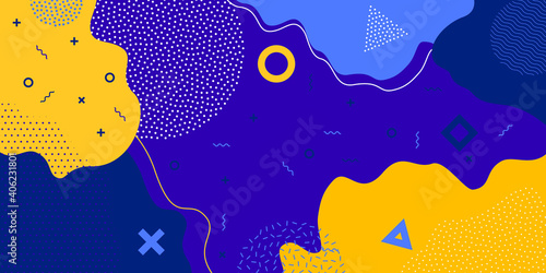 Background, abstract geometric shape and Memphis pattern, vector color splash