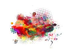 Multi Color Blots Background. Grunge Texture Stroke Line. Art Ink Dirty Design. Paintbrush Element. Brushstroke Graphic. Vector Illustration