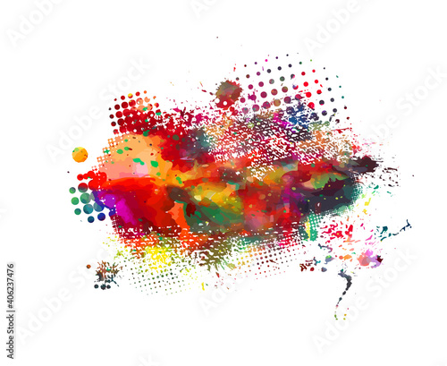 Fototapeta Multi color blots background. Grunge texture stroke line. Art ink dirty design. Paintbrush element. Brushstroke graphic. Vector illustration obraz