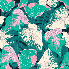 Seamless Pattern Botanical Caladium And Palm Green Leaves On Isolated Black Background.Vector Illustration.watercolor Style