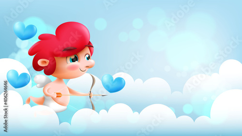 Beautiful happy valentines day background with cupid Fotobehang