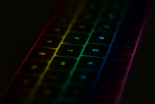 LGTB Concept Close Up Of A Laptop Keyboard With A Rainbow On It