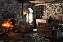 Fantasy Interior Of A Medieval Bedroom With Traditional Decorations And A Cozy Fireplace . 3d Rendering