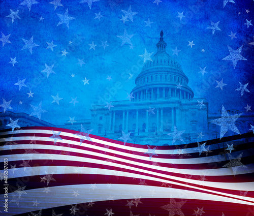 United States ceremony and inauguration day in Washington DC or Fourth of July Background with stars and stripes celebration as a symbol of American patriotism