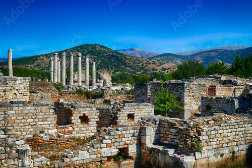 Fototapeta Columns surrounded with ruins of the gymnasium in Aphrodisias