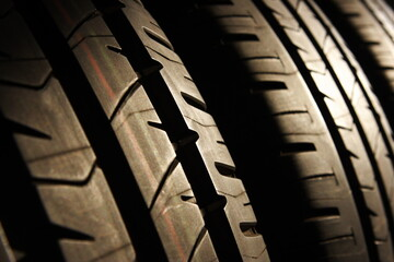 tires of car or vehicle standing in shop