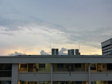 Exterior Of Hdb Flats Against Sky At Sunset