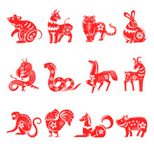 Chinese Horoscope Twelve Animals Signs Vector