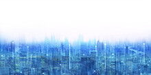 Double Exposure Vision Of Modern Cityscape And Network Line Connect Background.