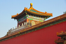 Red Walls And Ornamented Gables Are Classical Architecture In Forbidden City In Beijing, China.
