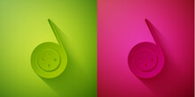 Paper Cut Yoyo Toy Icon Isolated On Green And Pink Background. Paper Art Style. Vector.