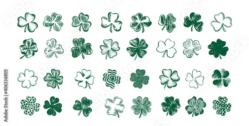 Fototapeta Happy Patrick's day. Clover set. Hand drawn illustration.
