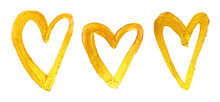 Collection Of Luxurious Golden Hearts For Valentine's Day Card. Love Symbol.