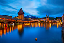 Amazing Nightscape Of Historic Center Of Lucerne, Switzerland.