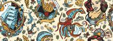Sea Adventure Vintage Seamless Pattern. Old School Tattoo Style. Marine Background. Nautical Art. Funny Underwater Monster. Sea Wolf Captain, Octopus Kraken, Pirate Ship And Sailor Girl