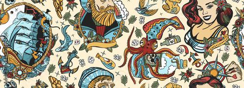 Photo Sea adventure vintage seamless pattern