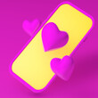 Leinwandbild Motiv 3d render. Pink phone and like heart icons on pink background
