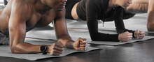 Athlete Sporty Muscular Man And Woman Doing Planking In Fitness Gym, Banner And Copy Space