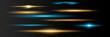 Blue horizontal lens flares pack. Laser beams, horizont