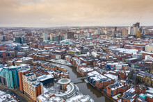 Aerial Photo Of The Area In The Leeds City Centre Known As Brewery Wharf Showing Snow Covered Apartment Buildings Along Side The Leeds And Liverpool Canal In The Winter Time