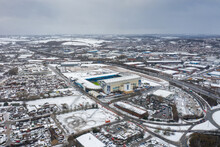 Aerial Photo Of The Elland Road Football Stadium In Leeds, West Yorkshire, England, Home Of Leeds United Football Club In The Village Of Beeston In The Snow In The Winter Time