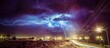 canvas print picture - Storm Clouds Over Illuminated City