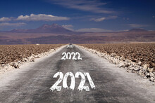 Long Hard Stony Way, Climate Change Target Concept: View On Endless Dirt Road Through Dry Desert With Numbers Of Years 2021, 2022, 2023