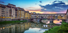 Evening View Of The Famous Bridge Ponte Vecchio On The River Arno In Florence, Italy.