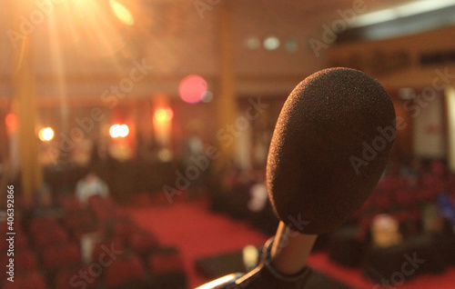 Close-up Of Microphone In Theater Fotobehang