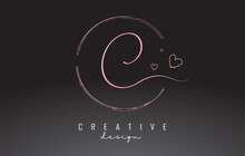 Handwritten C Letter Logo Design With Dust Pink Watercolor Ring And Outline Hearts.