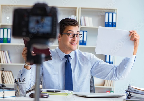 Fotografering Lawyer doing legal webcast for channel subscribers